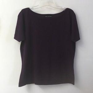 Halston Short-Sleeved Purple Sweater